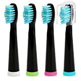 Electric Toothbrush Replacement Head x 4 with Medium-Soft Bristle Solely Compatible for Fairywill Electric Toothbrush Pearl-, Crystal- and Daily- Series Black