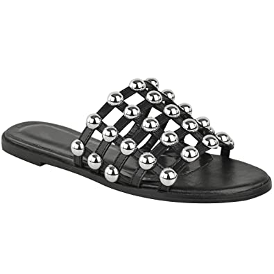 ea94c9d6ef6 Fashion Thirsty Womens Ladies Studded Slider Flat Summer Sandals Cage  Slides Bling Diamante Size
