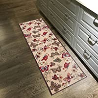 Custom Size Multicolor Butterflies Non-Slip Rubber Backed Hallway Carpet Runner Rug | 22-inch x 4-feet