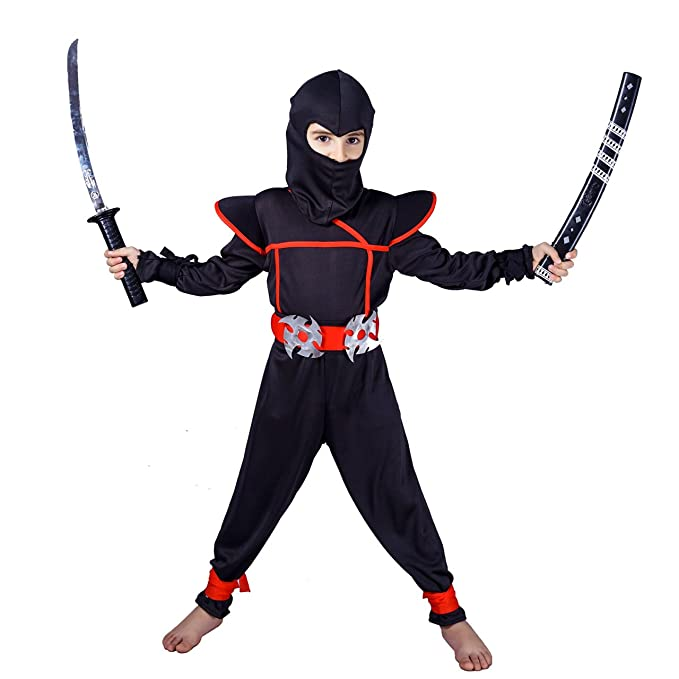 flatwhite Ninja Children's Costumes (10-12 Years, Black)
