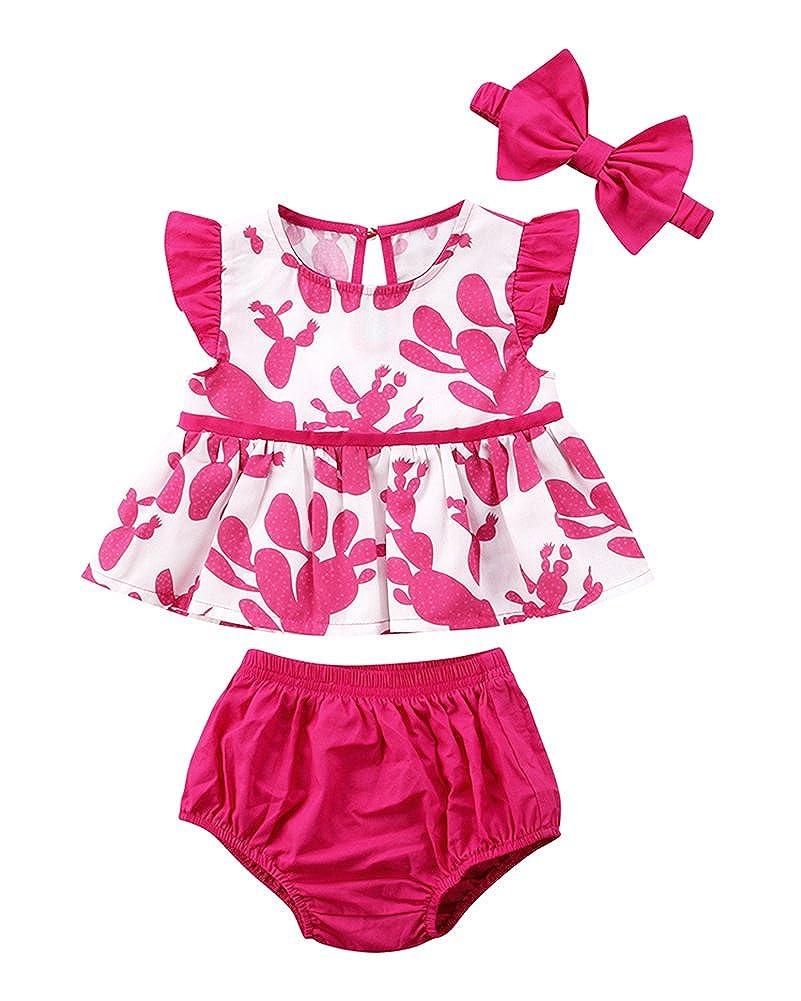 Newborn Baby Girls Cactus Summer Floral Tops Shorts Swimsuit Beachwear with Headband