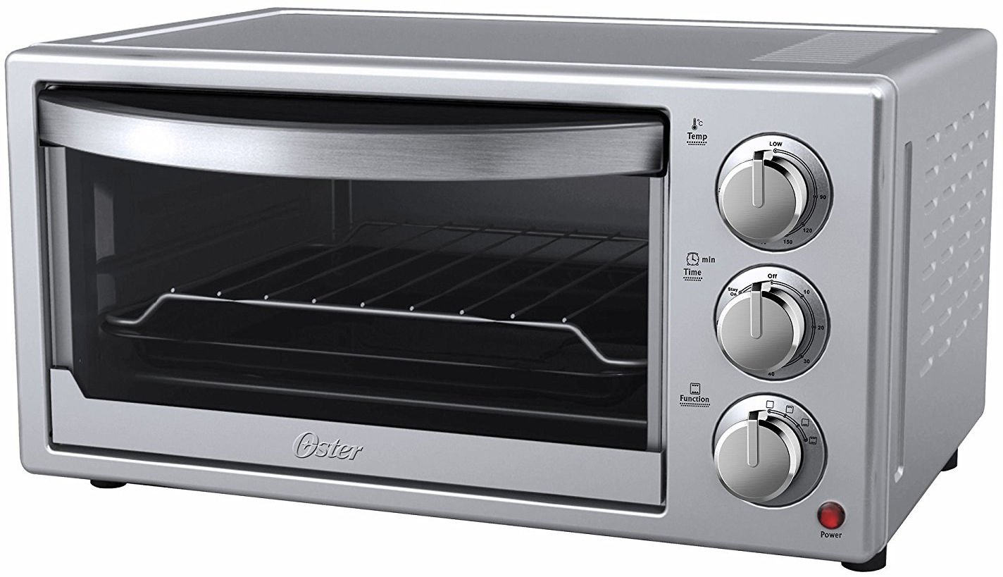 Oster 6-Slice Convection Toaster Countertop Oven – Silver Housing & Stainless Steel Front - 60 Minute Timer - Baking Pan