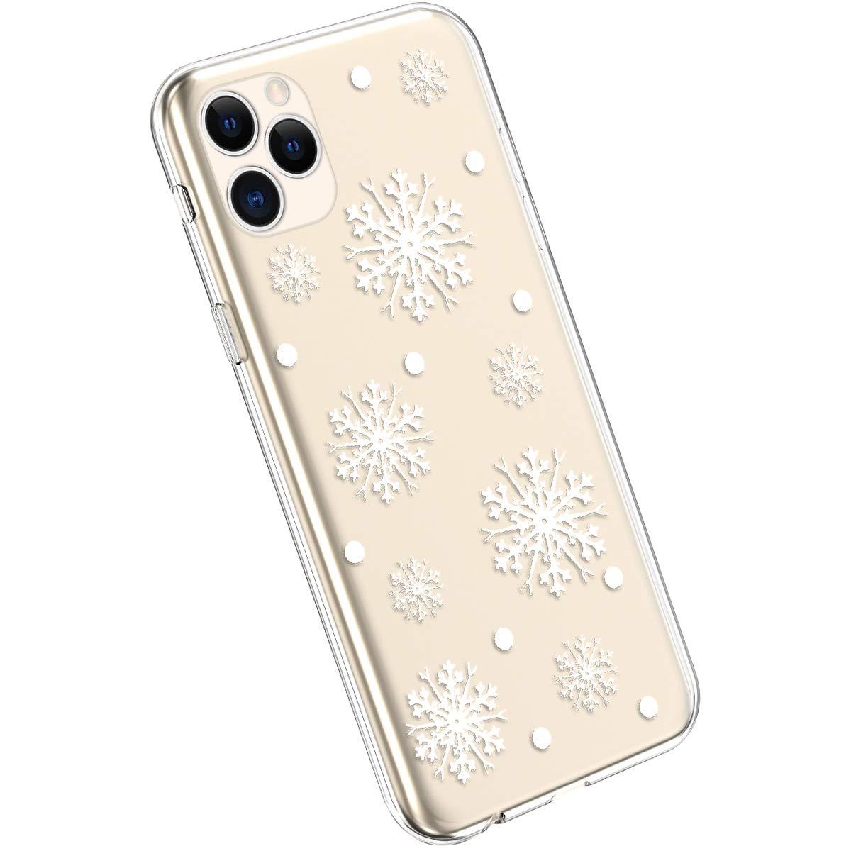 MoreChioce kompatibel mit iPhone 11 Pro H/ülle,iPhone 11 Pro Handyh/ülle,Durchsichtig Silikon Etui Christmas Weihnachten Schneeflocke Hirsch Muster Transaparent TPU Bumper,Schneeflocke