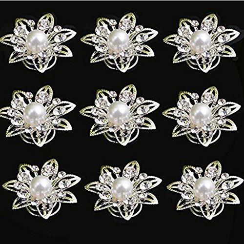 Swirl Pin Crystal (Yantu 24pcs Clear Crystal Flower Swirl Hair Twists Coils Spirals Hair Pin Clip Accessories)