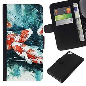 All Phone Most Case / Oferta Especial Cáscara Funda de cuero Monedero Cubierta de proteccion Caso / Wallet Case for HTC Desire 820 // Crayfish Painting
