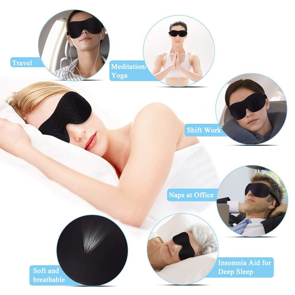AIM Lot de 4 Masques de Sommeil 3D occultants pour Les Yeux Super Doux et Confortable avec Sangles r/églables pour Les Voyages Le Travail Les nappes