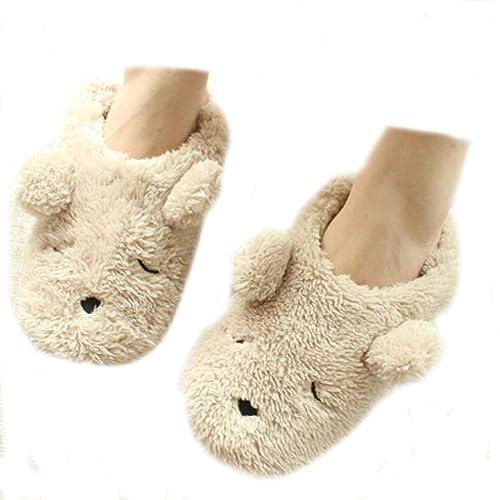 375daceb8 Fakeface Womens Indoor Warm Fleece Slippers, Ladies Girls Lovely Cartoon  Bear Winter Soft Cozy Thermal Non-Slip Fuzzy Plush Mules Home Indoor Floor  Slip-on ...