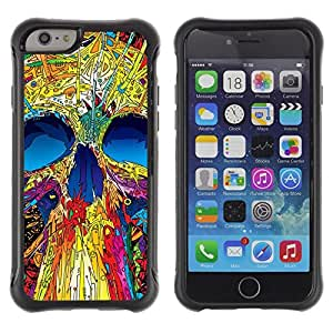 Suave TPU GEL Carcasa Funda Silicona Blando Estuche Caso de protección (para) Apple Iphone 6 / CECELL Phone case / / Skull Neon Monster Positive Art Skeleton /