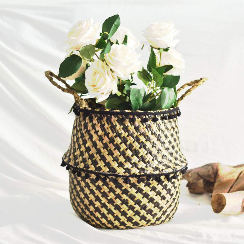 IEasⓄn _Home Kitchen,Woven Seagrass Belly Basket for Storage Plant Pot Basket and Laundry, Basket Storage Decoration Folding Basket (A) by IEasⓄn _Home Kitchen (Image #3)