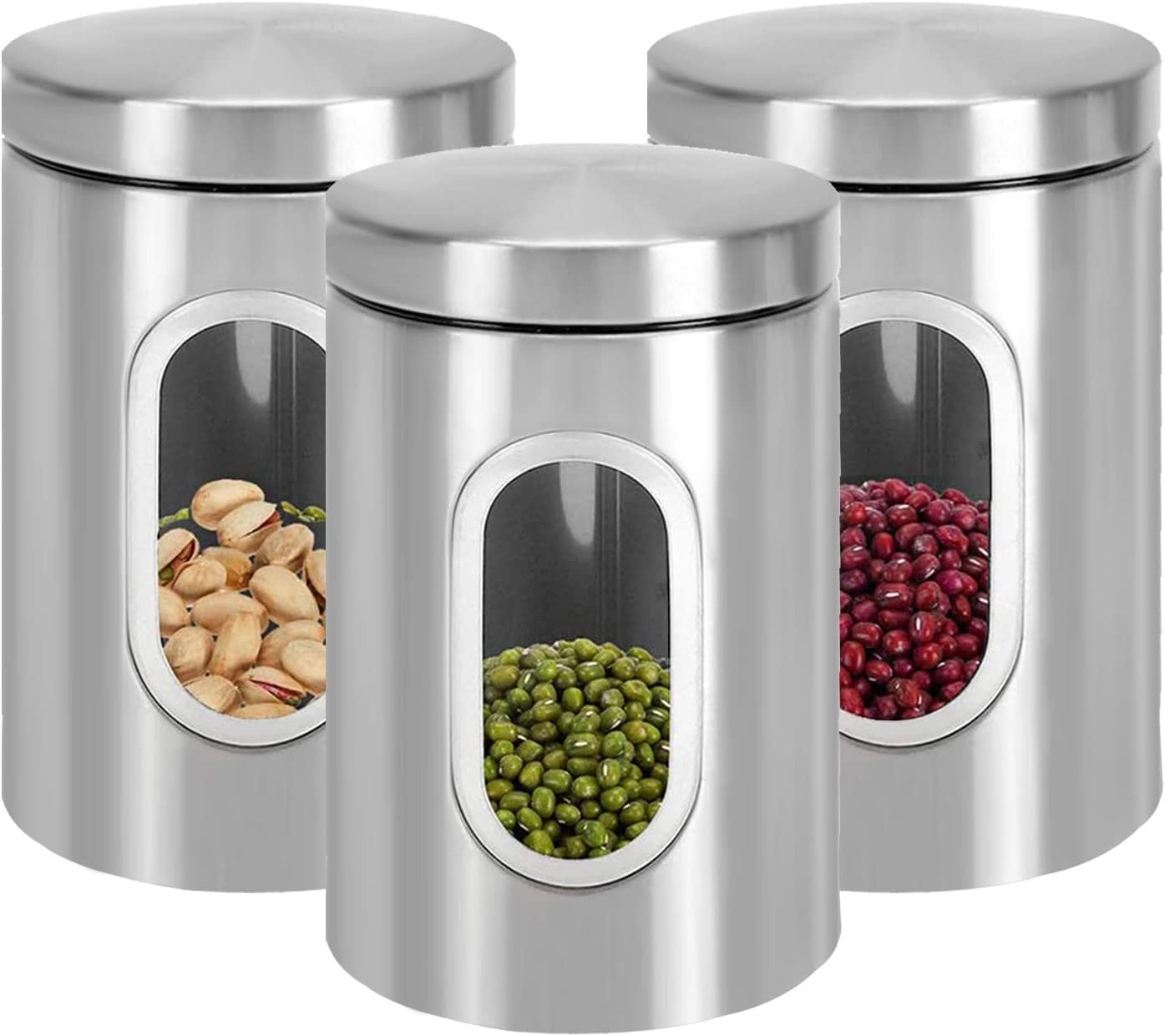 Jucoan 3 Pack Kitchen Canister Set, 6.7 x 4.3 Inch Stainless Steel Food Storage Containers with Lid and Visible Window for Dry Food Snack Beans Flour Sugar, 48 oz