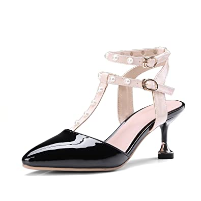 47bfe855251d AnMengXinLing Women s Pointed Toe Strappy Slingback Mid Thin Heel Leather  Pumps Pearl Studded Sandals Shoes (