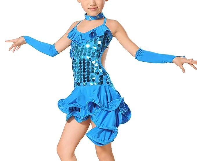 1b4b25c21b61b Feoya - Bleu 10-11ans Robe Style Latino Fille Enfant Robe Asymétrique à  Bretelles Dos