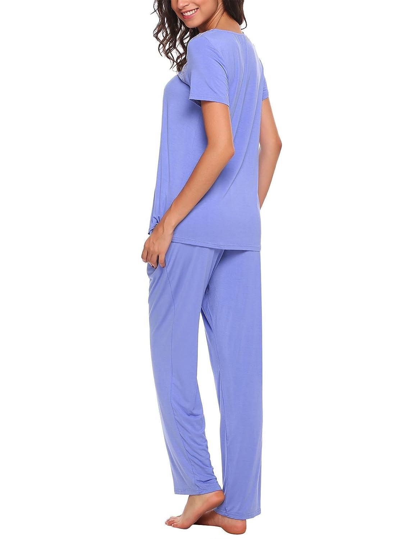 Adidome Women Pajamas Set V-Neck Short Sleeve Top and Elastic Waist Long  Pants Lounge Sleepwear S-XXL at Amazon Women s Clothing store  091a945cb