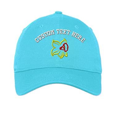 65862be5 Custom Plants Daffodil Flower Embroidery Unisex Adult Flat Solid Buckle  Cotton 6 Panel Unstructured Baseball Hat