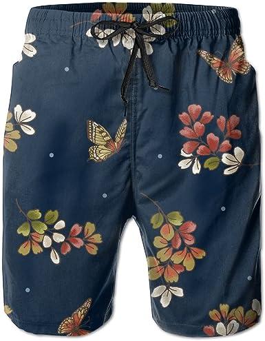 Beach Shorts for Man Fit Quick Dry Blue Board Form Dress Prints Pants Pockets Swim Trunks