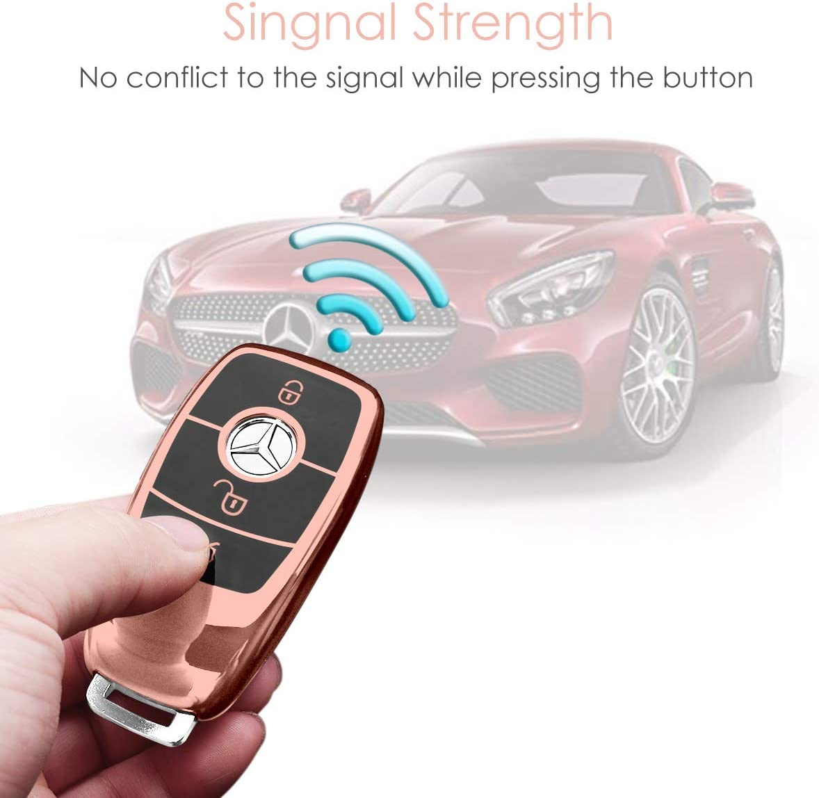 BMW Key Fob Cover,Key Fob Protector Case for BMW 1 3 4 5 6 7 Series X3 X4 M5 M6 GT3 GT5 Remote Control Key Premium Soft TPU Anti-dust Full Protection by Smof Rose