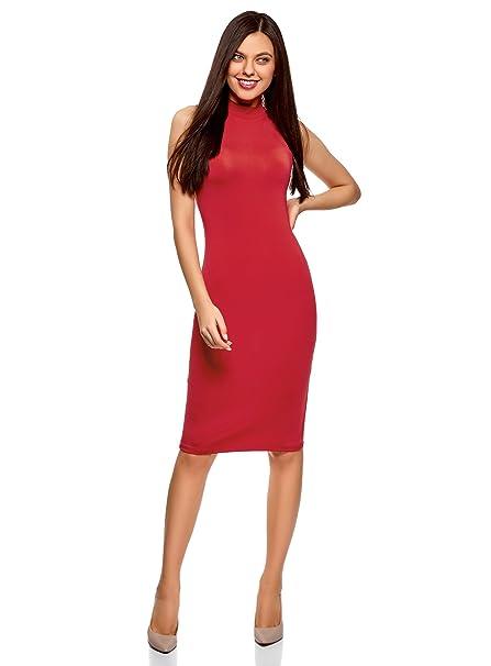 oodji Ultra Mujer Vestido Ajustado con Cuello Mao, Rojo, ES 46 / XXL