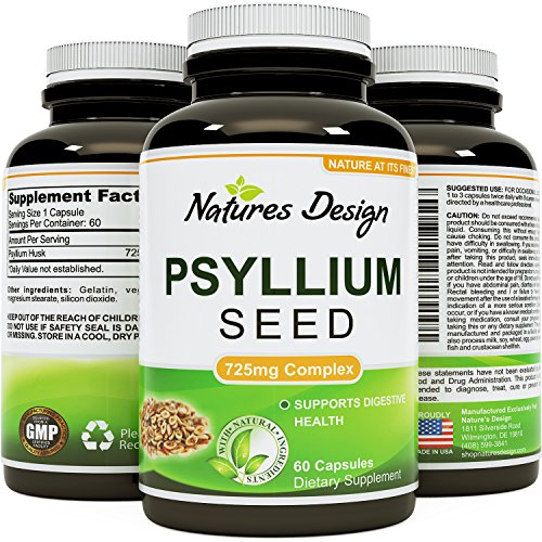Best Psyllium Husk Supplement - Natural Laxative Psyllium Husk Fiber Powder Capsules - 725 mg per Capsule - Bulking Fiber For Weight Loss - Lowers Cholesterol - Healthy Digestion - Natures Design