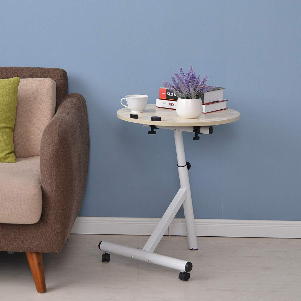 Computer Desk Black Chenway Small Round Table with Wheels Small Space for Bedroom Movable Desk Adjustable Height