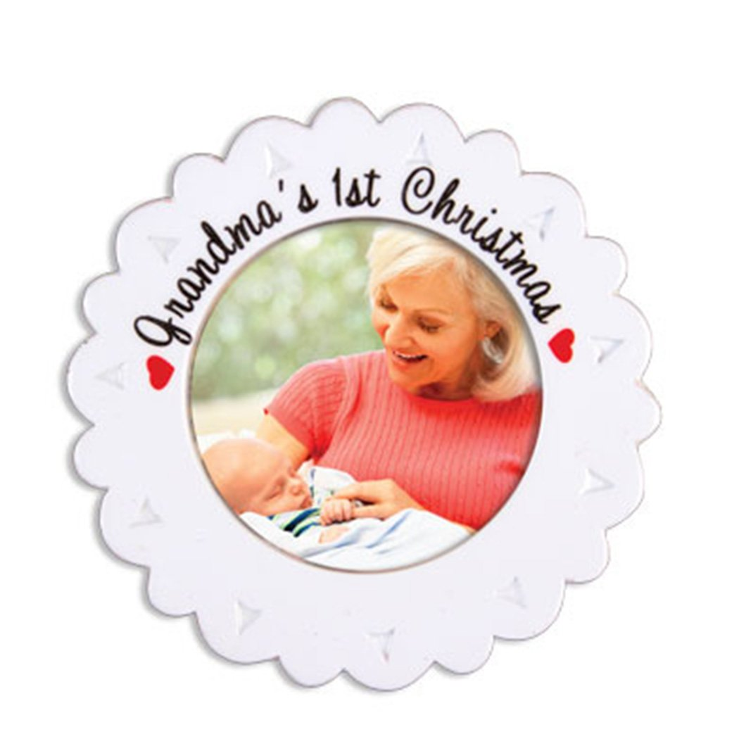 Personalized Grandma's First Grand-Baby Christmas Ornament 2018 - White Round Flower Generic Photo Display Hearts - Grandmother's 1st Child Kid Born Boy Girl Milestone Memory - Free Customization Ornaments by Elves