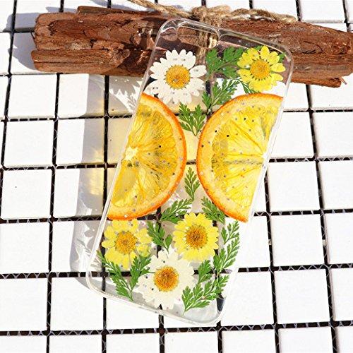 Crystal_phonecase Fruit Orange Pressed Dried Flower Real Natural Fresh Handmade Resin Clear Case for iPhone 4 4s 5c 5 5s SE 6 6s 6/6sPlus 7 8 7/8Plus X Xs XR Xs Max (Orange #4, iPhone 7/8 Plus)