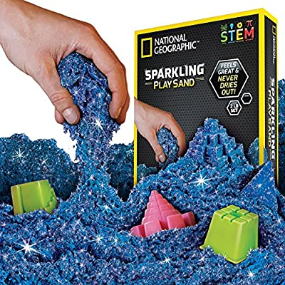 NATIONAL GEOGRAPHIC Sparkling Play Sand - 2 LBS of Shimmering Sand with Castle Molds and Tray (Blue) - A Kinetic Sensory Activity: Toys & Games