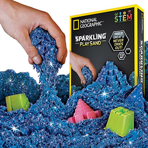 NATIONAL GEOGRAPHIC Sparkling Play Sand - 2 LBS of Shimmering Sand with Castle Molds and Tray (Blue) - A Kinetic Sensory Activity