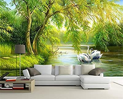 ShAH European Style Swan Lake 3D Wallpaper Mural Floor Sticker Decoratione Murals Living Room Bedroom Background Photo 3D Wallpaper Mural Floor Sticker Murals