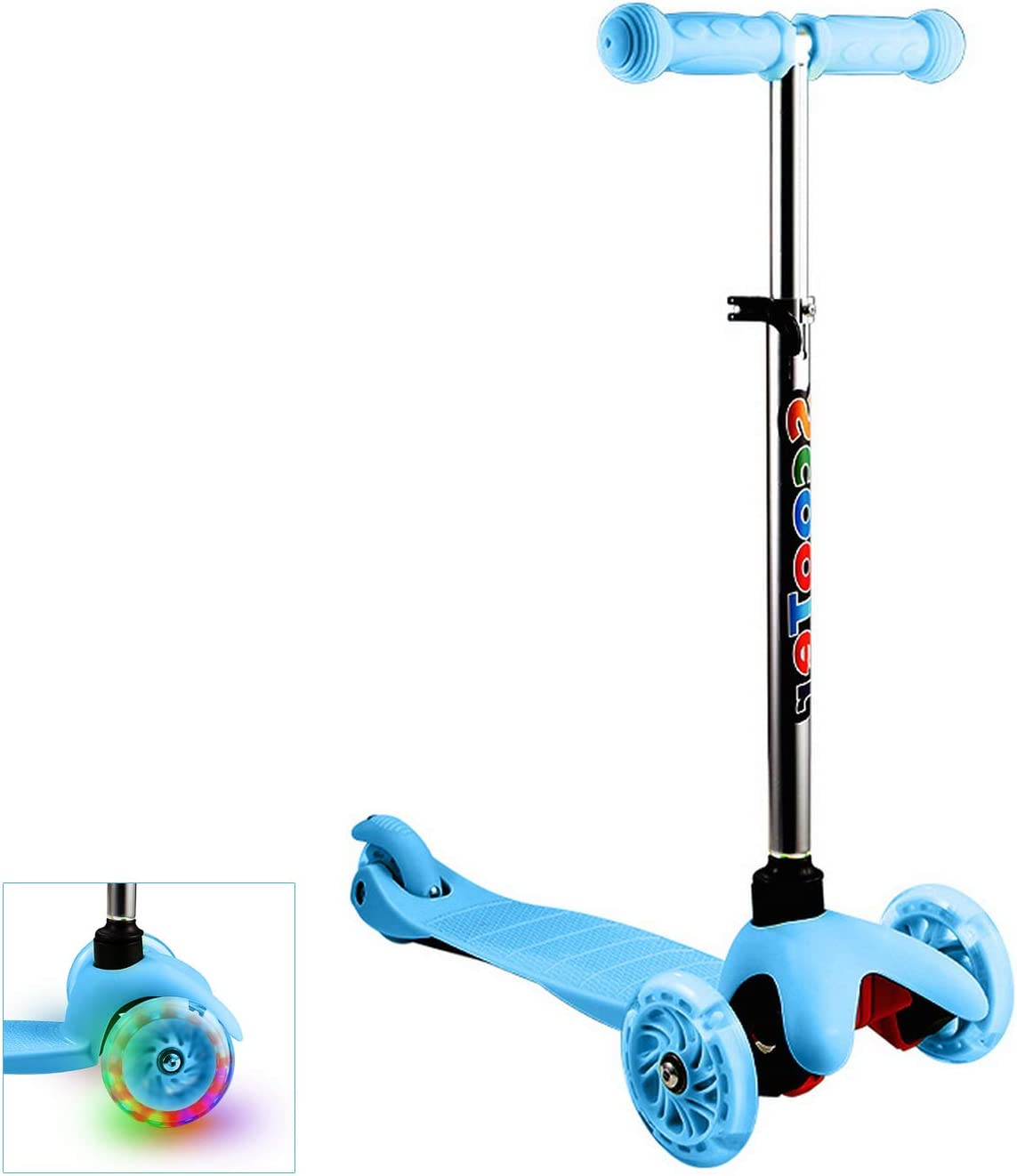 Aceshin Kick Scooter for Kids 3 Wheel, LED Light-Up, Lean to Steer, 4 Adjustable Height Boys Girls