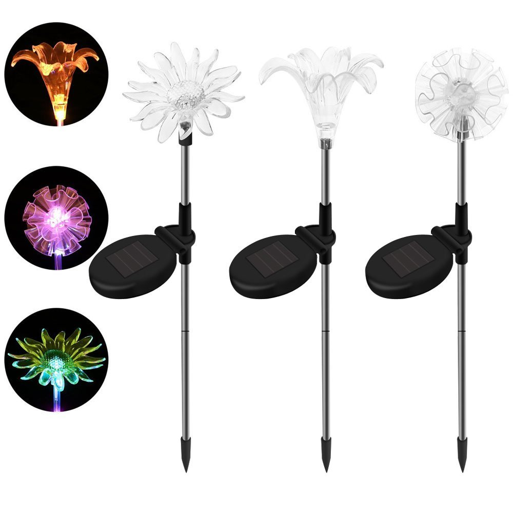 SAPPYWOON Outdoor Solar Flower Lights- 3pcs LED Multi-Color Solar Garden Stake Lights for Garden, Patio, Backyard (Lily,Dandelion,Sunflower)