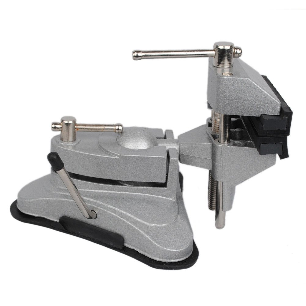 Hobby Mini Vice with 360° Swiveling Head and Powerful Suction Mounting Mechanism and Soft Jaws for Craft, Model Building(Silver) by cyclamen9 (Image #2)