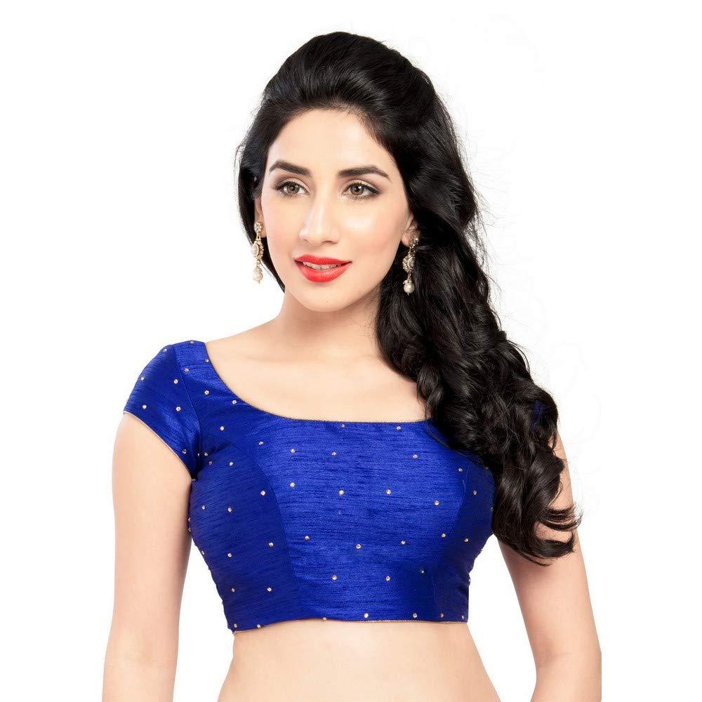 Royalbluee Designer Indian Traditional Dupion Silk Padded Half Sleeves Saree Blouse Choli (X202Sl) Multiple colors Available