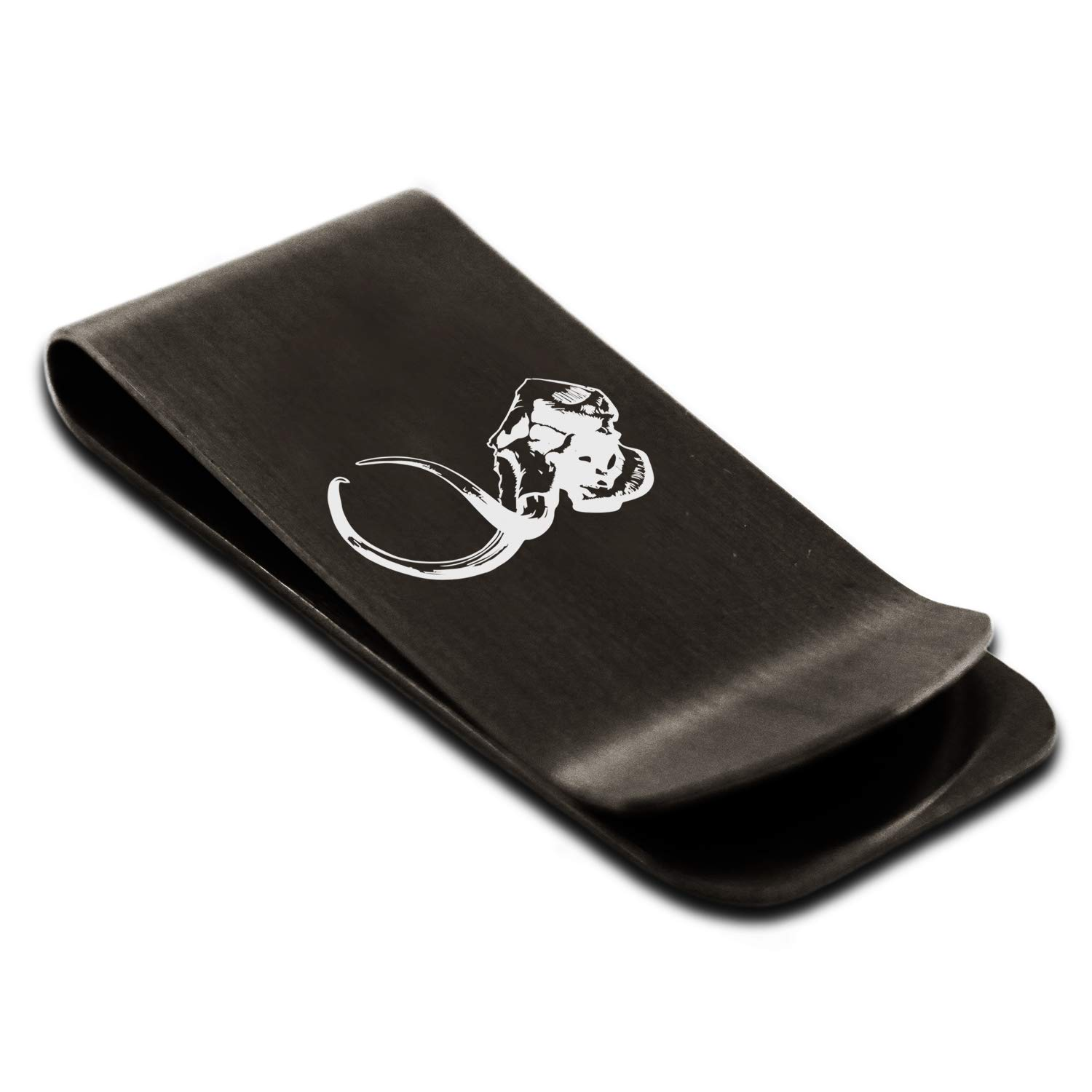 Stainless Steel Woolly Mammoth Skull Money Clip Credit Card Holder