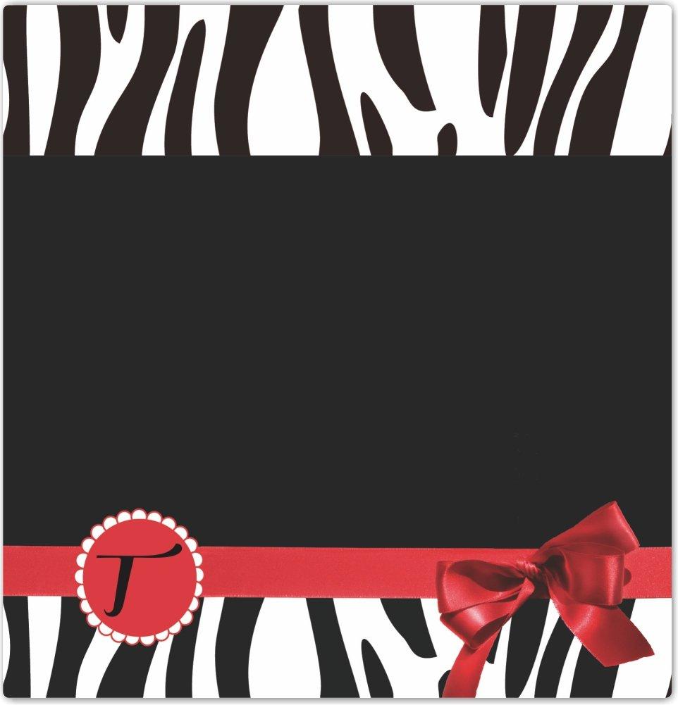 Rikki Knight Letter T Red Zebra Bow Monogram Design Ceramic Art Tile 4 by 4