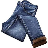 Fnsky - Pantalones Vaqueros Ajustados de Terciopelo para Mujer, con Forro de Felpa, Azul, 25