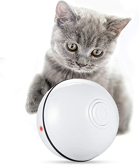 LIPET Cats and Dogs Toys Wicked Balls USB Rechargeable Automatic Rolling Smart Interactive Pet Toy Ball Fun Gift for Kittens Kitty Doggies Puppies with RGB LED Lights Silicone Waterproof