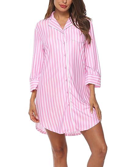 Lalala Damen 3/4 Ärmel Gestreiftes Nachthemd Knopfleiste Sleepshirt V-Ausschnitt Nachtwäsche Schlafanzugoberteil mit Brusttas