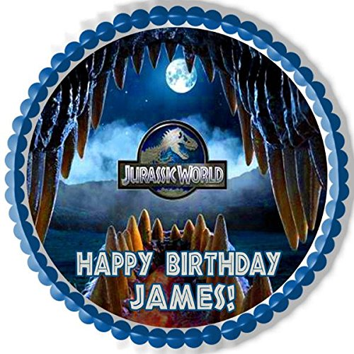 Jurassic World 4 Edible Birthday Cake OR Cupcake Topper 75 Round