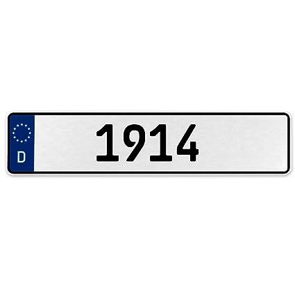 Vintage Parts 553491 1914 Year White Stamped Aluminum Deutschland License Plate