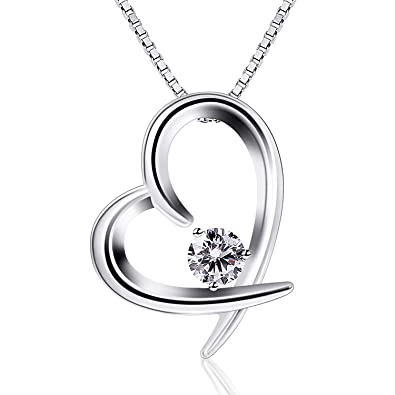 68b222e9e B.Catcher Women Jewelry 925 Sterling Silver Cubic Zirconia Love Heart Pendant  Necklace