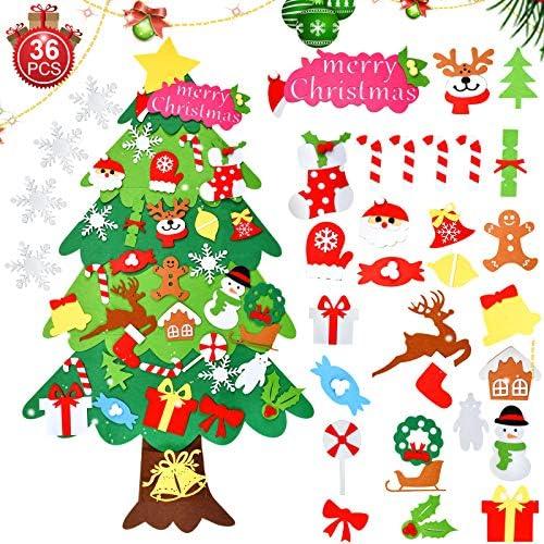 runhua Albero di Natale in Feltro, 3.7ft DIY Albero Natale Feltro con 36 Ornamenti Staccabili, Alberi di Natale per Regali di Natale, Decorazioni Natale per la Decorazione della Parete del Portello