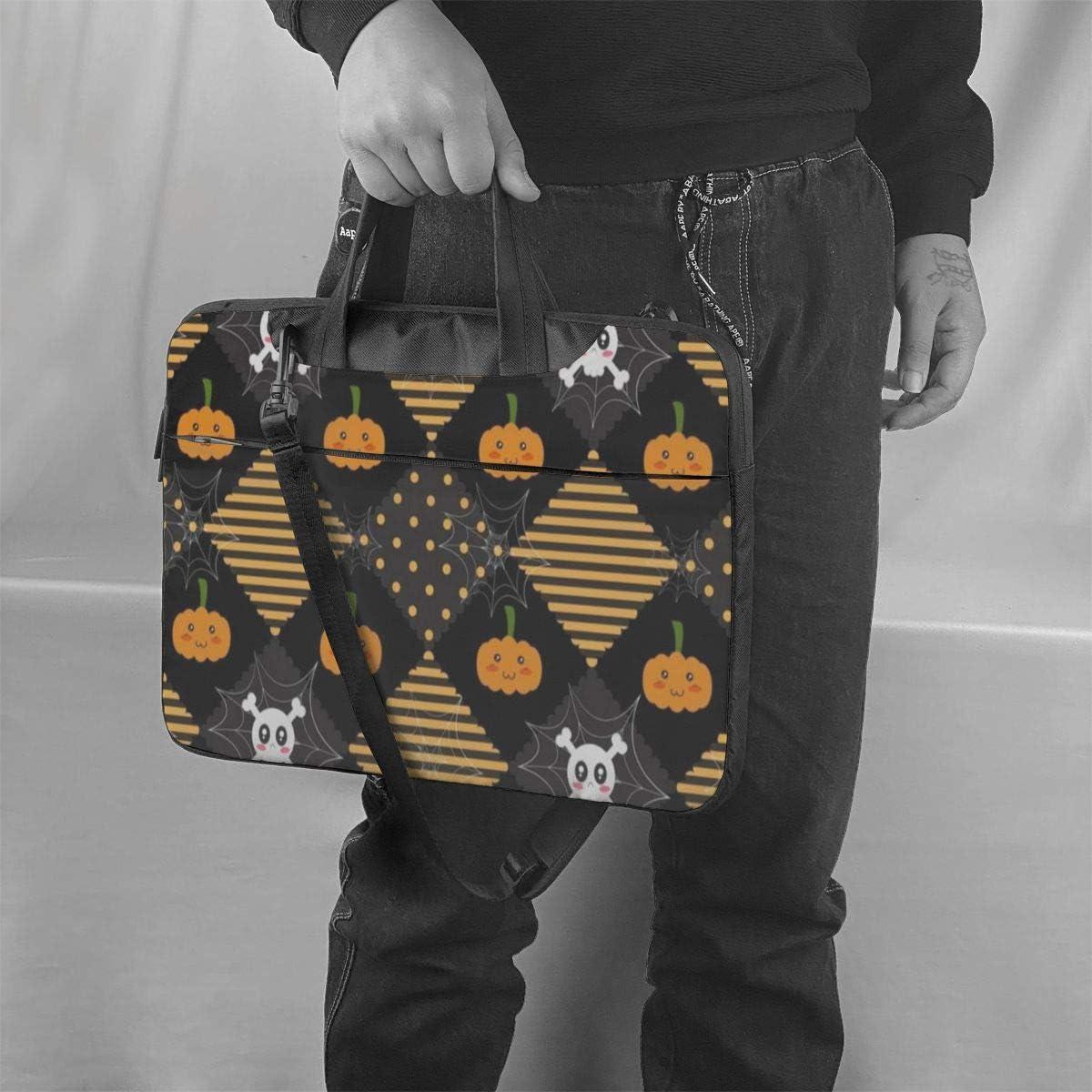 Cute Geometric Vintage Striped Happy Halloween Pumpkin Laptop Bag Case Sleeve Briefcase Computer Organizer for Women Men 15.6