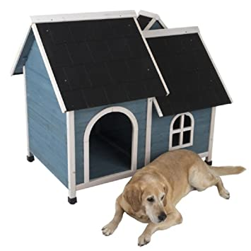 Caseta para perro con techo y chimenea