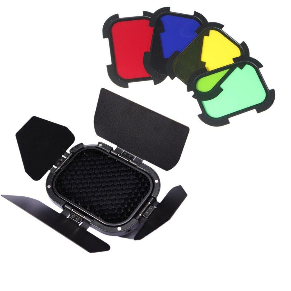 Godox BD-07 Barn Door Detachable Honeycomb Grid 4 Color Filters Compatible AD200 Pocket Speedlite Flash Head