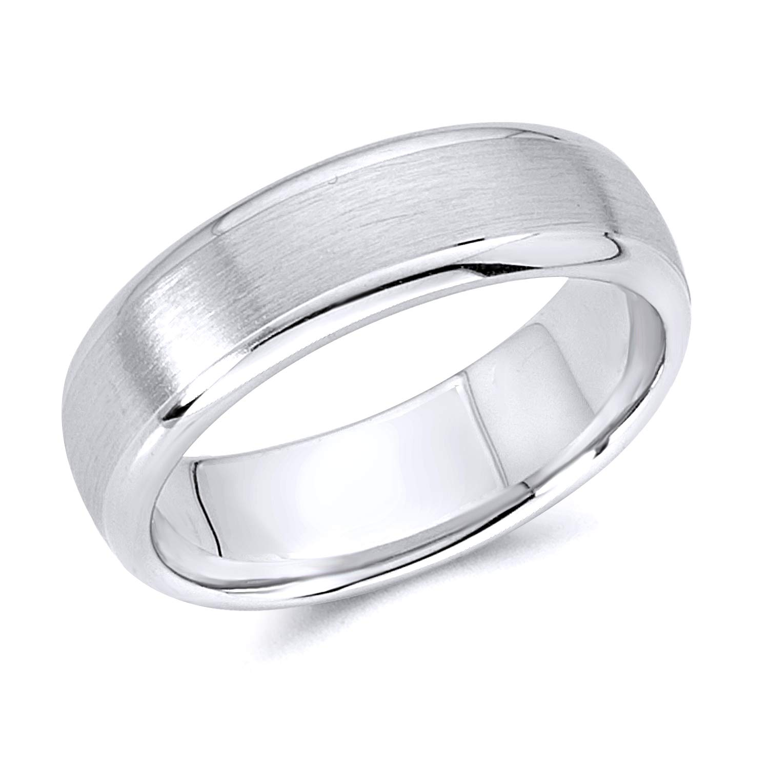 Wellingsale 14k White Gold Polished Satin 6MM Rounded Edge Comfort Fit Wedding Band Ring - Size 7 by Wellingsale