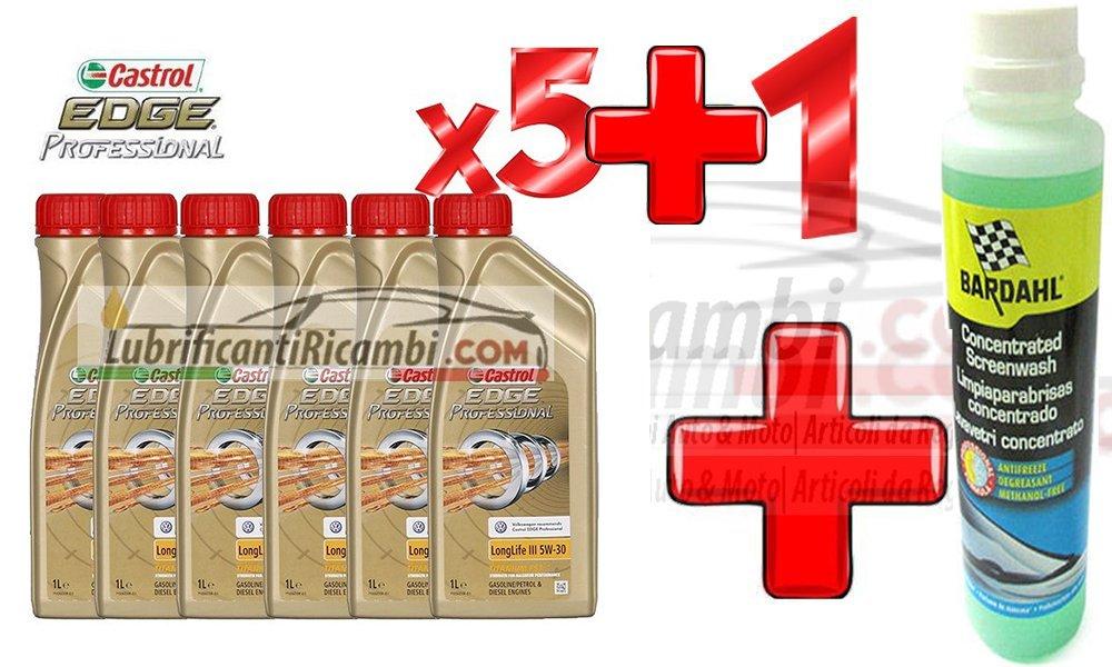 Bardahl - 5 litros aceite de motor Castrol edge FST Longlife III 5W30 +1 líquido limpiaparabrisas concentrado Windscreen Cleaner Concentrated anticongelante ...