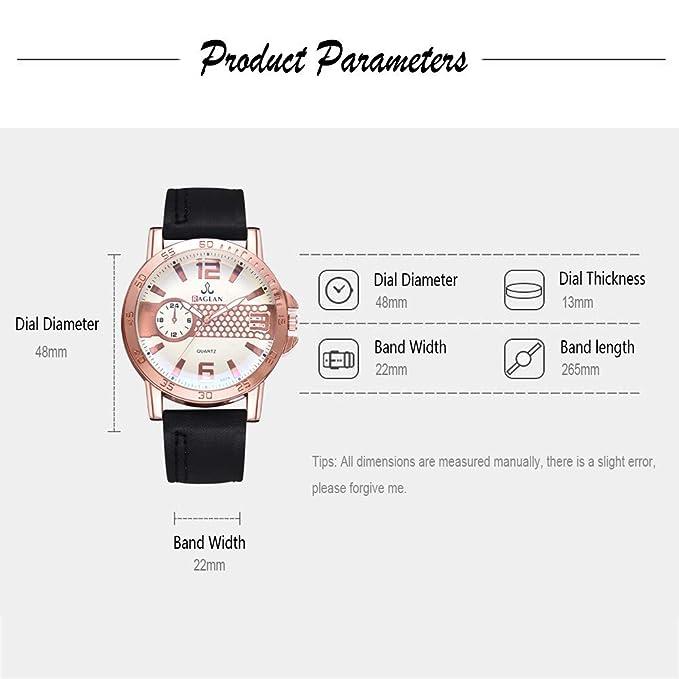 Longra Relojes de Pulsera de Cuarzo para Hombres de Negocios Reloj de Cuero BLU Ray con Reloj de número Romano: Amazon.es: Deportes y aire libre