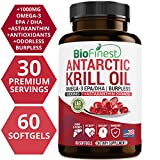 Cheap Biofinest Antarctic Krill Oil Supplement – Double Strength 1000mg with Omega 3 EPA, DHA and Astaxanthin – Wild Caught – for Healthy Heart, Brain, Immune System, Memory, Energy (60 Softgels Capsules)
