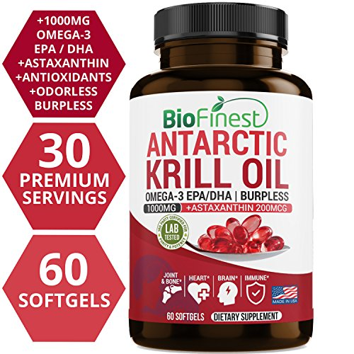 Biofinest Antarctic Krill Oil Supplement - Double Strength 1000mg with Omega 3 EPA, DHA and Astaxanthin - Wild Caught - for Healthy Heart, Brain, Immune System, Memory, Energy (60 Softgels Capsules)