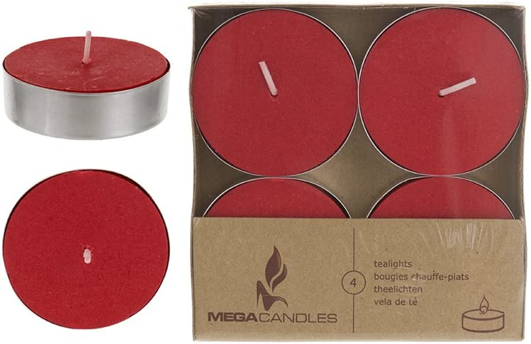 Mega Candles 12 pcs Unscented Red Oversize Tea Lights Candle, Pressed Wax Candles 12 Hour Burn Time, Home Décor, Wedding Receptions, Baby Showers, Birthdays, Celebrations, Party Favors & More